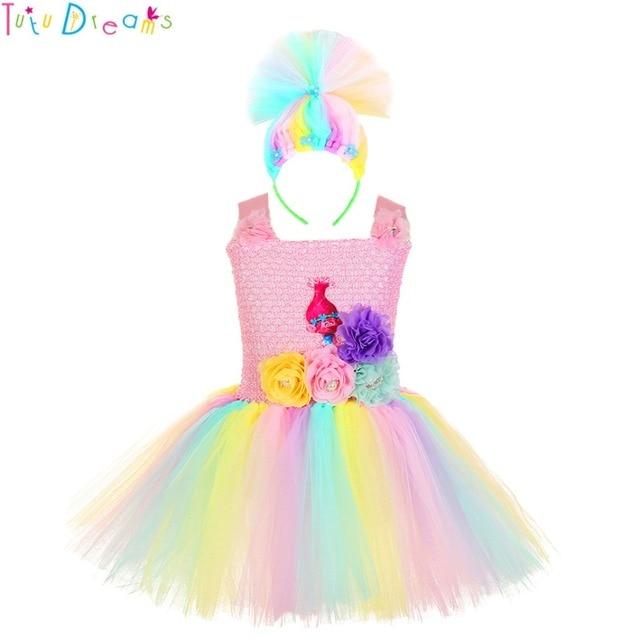 bfaeea674 Princess Poppy Troll Tutu Dress Baby Kids Girls Birthday Party Inspired  Knee Length Tutu Dresses Winter New Year Costume Outfit