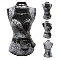 Silver Brocade Steampunk Corset and Jacket