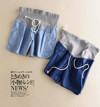 2017 Summer new maternity clothes pregnant pants  denim shorts loose large size care belly drawstring SH-YZ0172