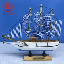 LUCKK 16CM Handmade Wooden Model Ships Nordic Home Interior Decoration Wood Crafts Room Miniature Souvenirs Kids Gift Boat