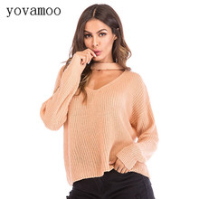 Yovamoo Sweaters Fashion 2018 Fall For Women Knitted Halter V-neck Sexy Cutout Streetwear Loose Plus Size Pullover Tops