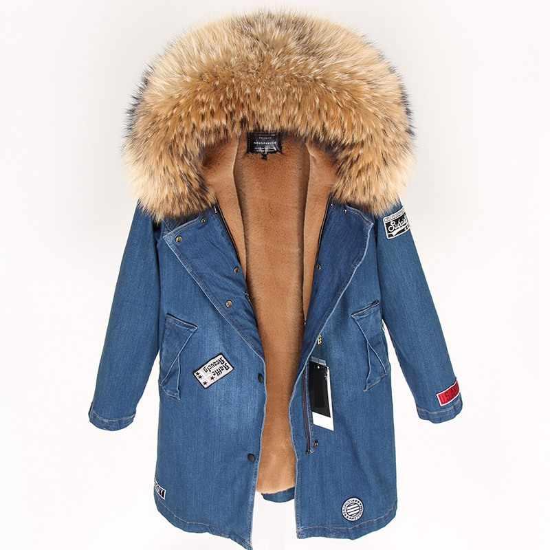 Зимнее пальто женская джинсовая куртка толстые парки натуральный мех енота  воротник с капюшоном пальто модное длинное 585bf274813