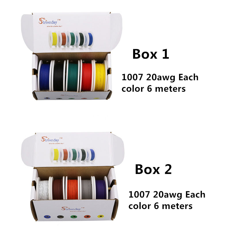 60m 1007 20AWG 10 color Mix box 1+box 2 package Electrical Wire Cable Line Airline Copper PCB Wire DIY