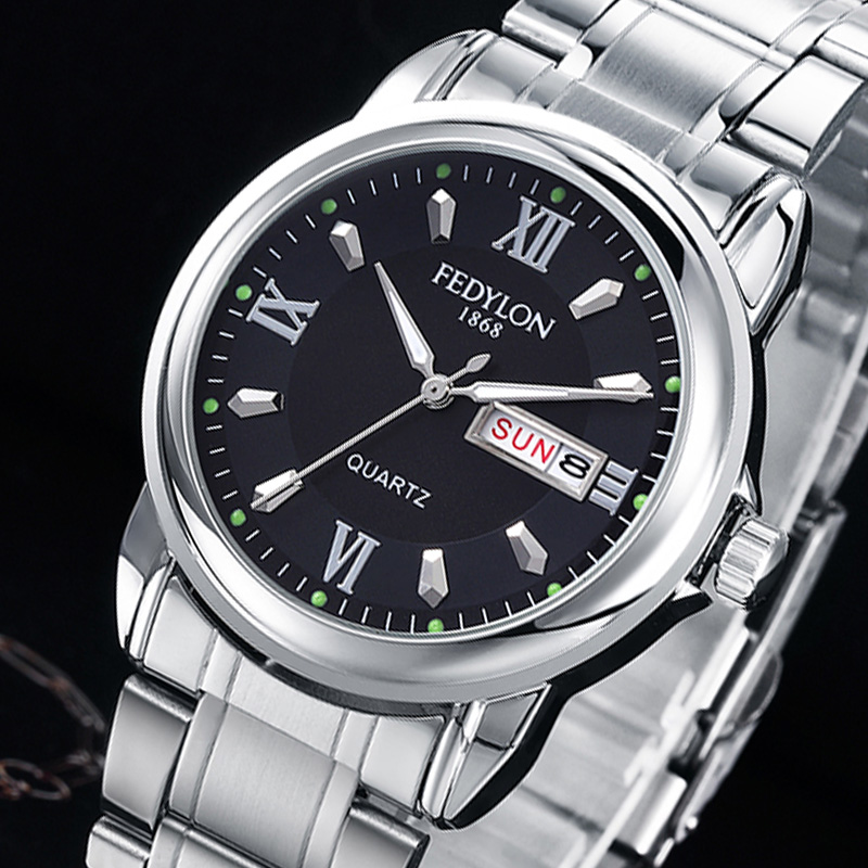 FEDYLON Top Brand Luxury Quartz Watches for Men Stainless Steel Dual Calendar Waterproof Wristwatch Male Clock Erkek Kol Saati