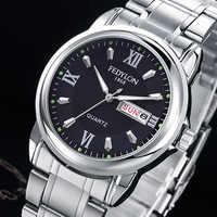 Fedylon marca superior de luxo relógios de quartzo para homens aço inoxidável duplo calendário à prova dwaterproof água relógio masculino erkek kol saati