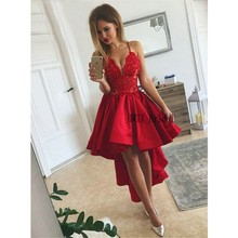 a4a4cc456fd Red Short Prom Dresses 2019 Elegant A Line Spaghetti Straps Vintage Lace  Satin High Low Cheap
