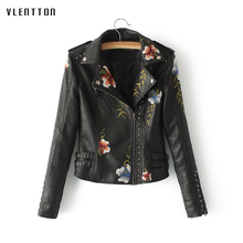 2019 New womens leather jacket Short Long sleeve Faux Leather Jacket Embroidery spring autumn Slim Bikers coat female