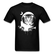 Men Plain Tees Summer/Autumn 100% Cotton Tshirts Short Sleeve Moonfall Space Cat Funny Print T Shirt Tops & Wholesale