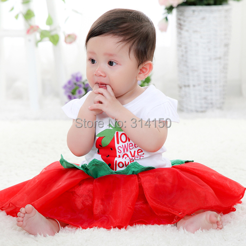 New Baby Girls 3pcs/suits sun hat +top +Tutu skirt Kid Girl s Colthing Baby suits Strawberry princess 1pcs freeshipping