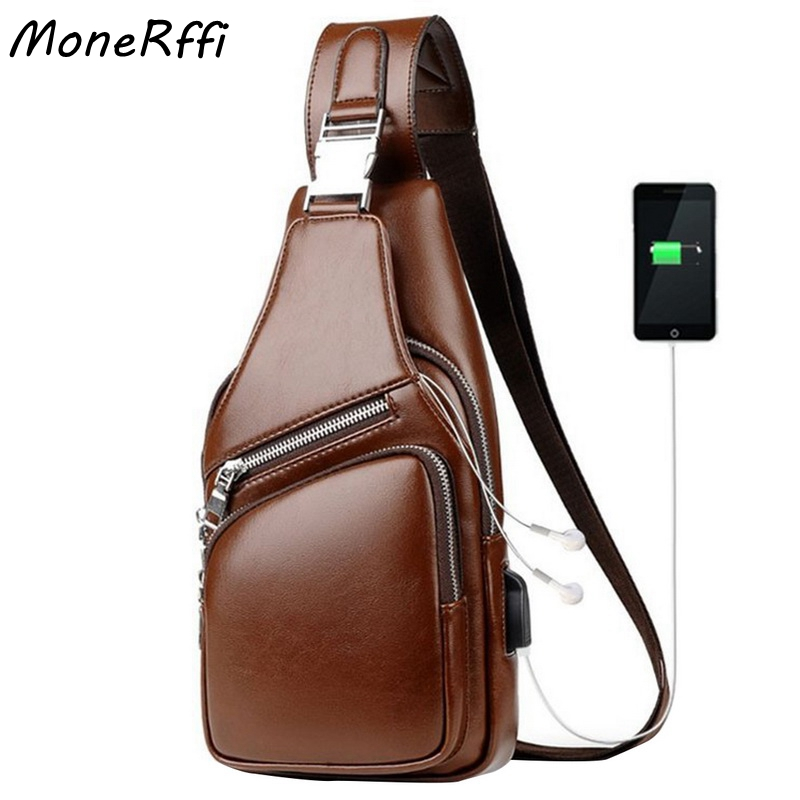 MoneRffi Men's Shoulder PU Leather Chest Bags Crossbody