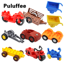 Motorcycle Car Model Vehicle Set transport Bricks Big Particles Building Blocks accessory Kid DIY Gift Toy Compatible with Duplo