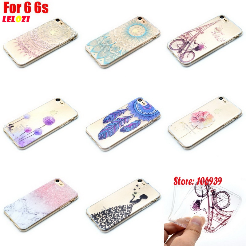 LELOZI Pretty Vintage Art Abstract TPU Clear Transparent Soft Silicone Silicon Capinha Etui Cover Case For iPhone 6 6s 4.7 I I6