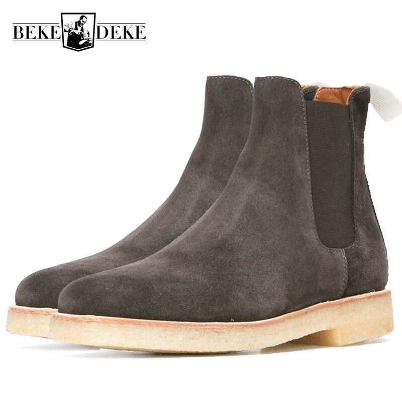 Brytyjski jesień zima Slip On buty na platformie mężczyzn Handmade luksusowa marka okrągłe Toe ślubne Chelsea buty w stylu Vintage buty motocyklowe w Buty sztyblety od Buty na  Grupa 1