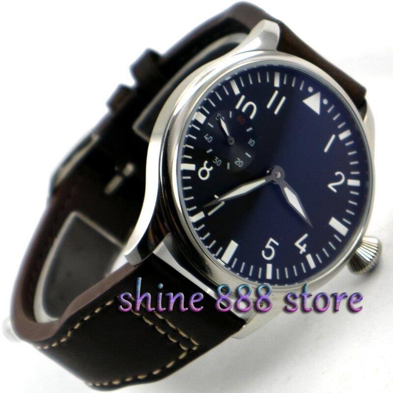 44mm parnis Black dial Green luminous 17 jewels 6497 movement hand winding mens watch