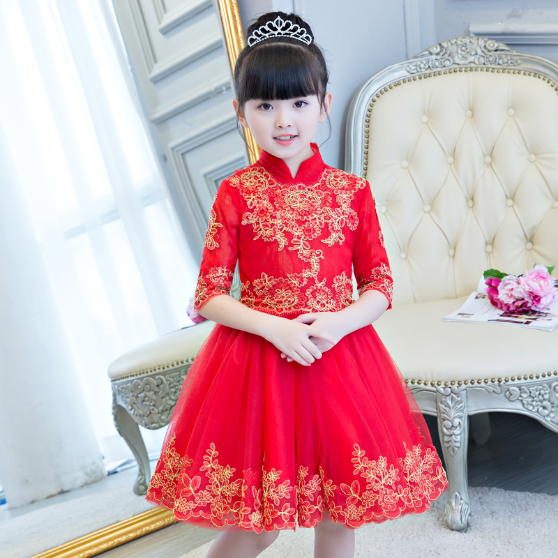 New Fashion Toddler Girls Children Chinese Christmas Red Dress Half Sleeves Hollow Retro Girl Birthday Party Ball Gown Dresses green crew neck roll half sleeves mini dress