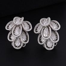 SisCathy 2019 New Hot Elegant Big Stud Earring Bridal Wedding Party Jewelry Full Cubic Zirconia Statement Women Earrings