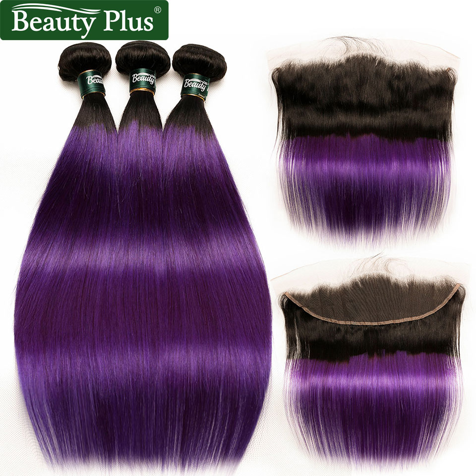 Dark Roots Purple Straight Hair Bundles With Frontal Pre Plucked Nonremy Brazilian Ombre Human Hair Weave