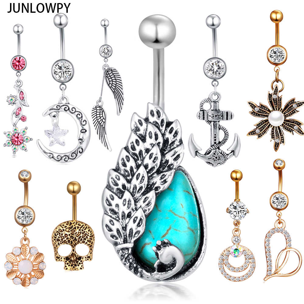 Junlowpy Belly Button Ring Fancy Heart Crystal Gold Stainless Steel Body Jewelry Cheap Belly Navel Bars Belly Piercing Earring