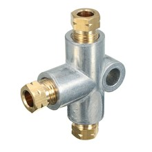 Silver 3 Way T Piece Tee Brake Pipe With 3 M10 Male Nuts Short Metric Copper 3/16 10mm Inch Distributor Replacement Parts