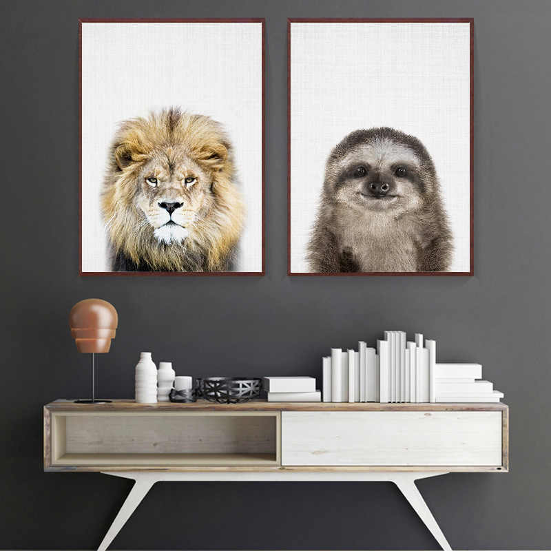 Woodland Animal Canvas Painting Baby Nursery Wall Art Giraffe Lion Poster Print Nordic Kid Bedroom Decorative Picture Home Decor