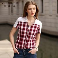 Veri Gude Summer Style Women Short Sleeve Plaid Blouse Shirt Slim Fit 100 Cotton Turn Down