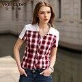 Veri gude estilo verão mulheres de manga curta camisa blusa xadrez Slim Fit 100% Algodão Turn-Down Collar Terno Livre Para Trabalhar expedição