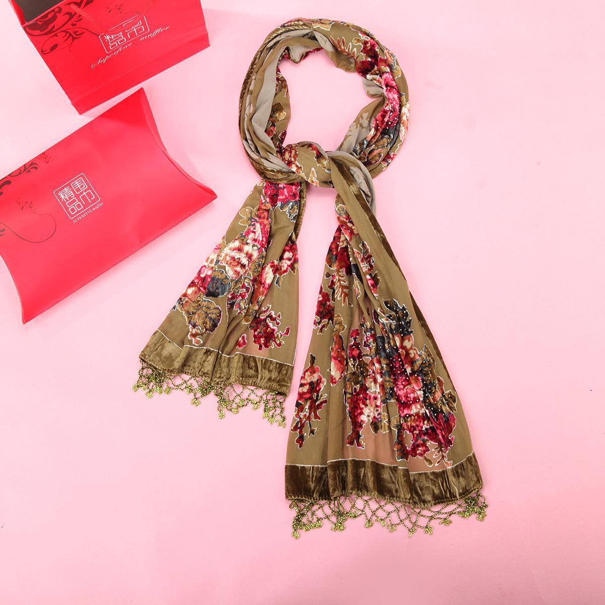 2019 New Vintage Flower   Scarves     Wrap   Women's Velvet Pashmina Printed Shawls Cape Handmade Beaded Muffler Hijab Kerchief Shawl
