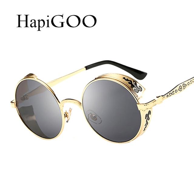 dd4c349e43c0 HapiGOO Винтаж Готический Круглые Солнцезащитные очки Для мужчин стимпанк  резьба цветок металлический каркас Покрытие Зеркальные очки