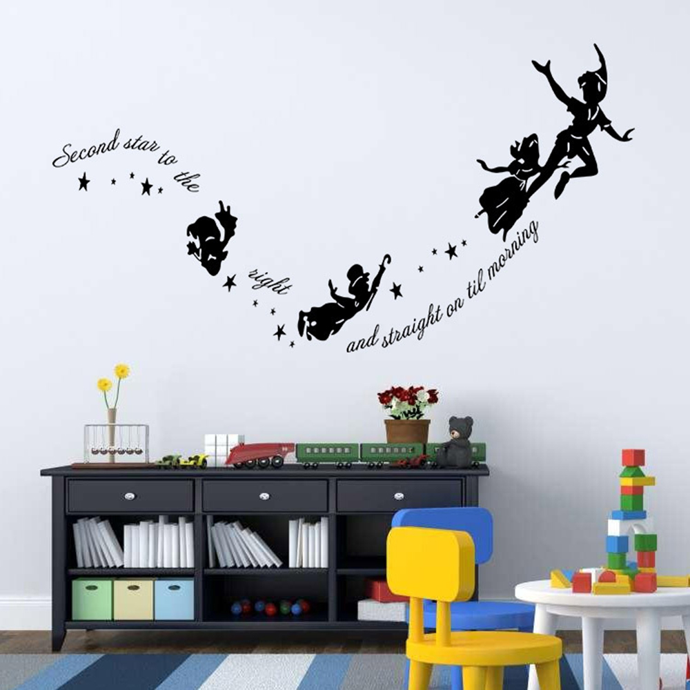 Aliexpress.com : Buy Tinkerbell Second Star To The Right Peter Pan Decal  Wall Stickers Paper Kids Art Mural Home Decor Living Decoration From  Reliable ...