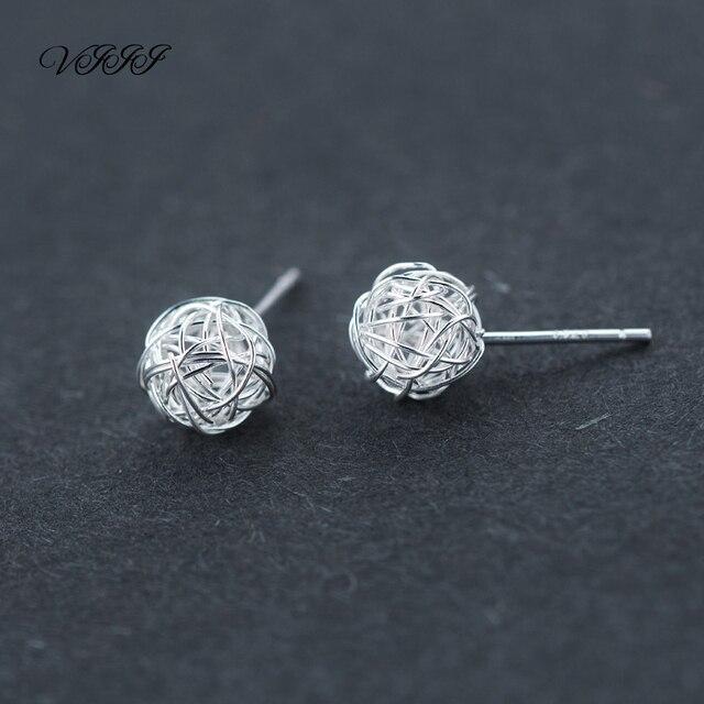 Genuine 925 Sterling Silver Earrings For Women Weave Ball Fashion Jewelry Knitting Wool ball Stud Earrings 7mm 9mm