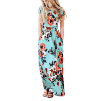 2017 new fashion sexy folral print O-neck women dress short sleeve beach summer casual style women dresses vestidos HD081