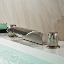 Deck mounted Dual Handles Waterfall Basin Mixer Faucet 3pcs Brushed Nickel Finished Bathroom Tub Mixer Taps
