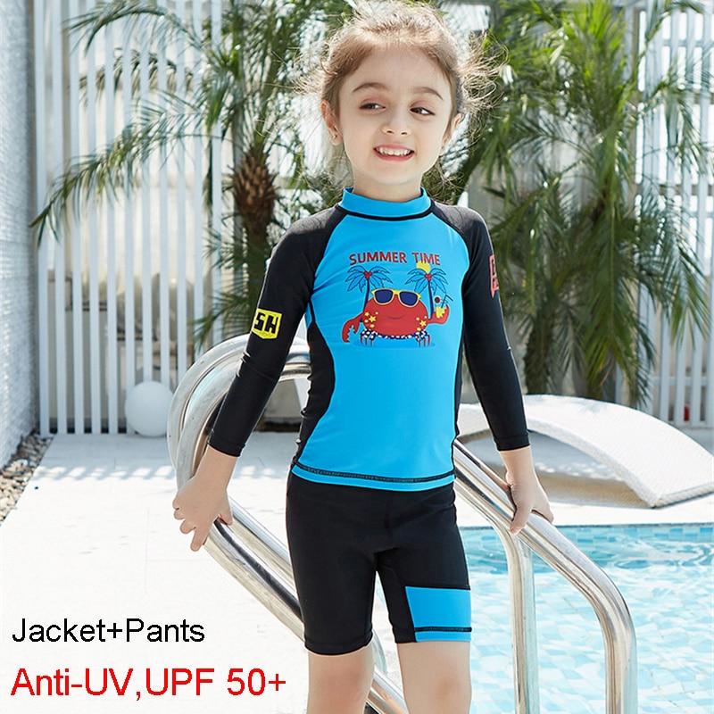 e836800bfd Anti UV éruption cutanée pour enfants Lycra plongée combinaison Rushguard  pour enfants manches longues maillot de bain 2 pièces maillots de bain UPF  50 + ...