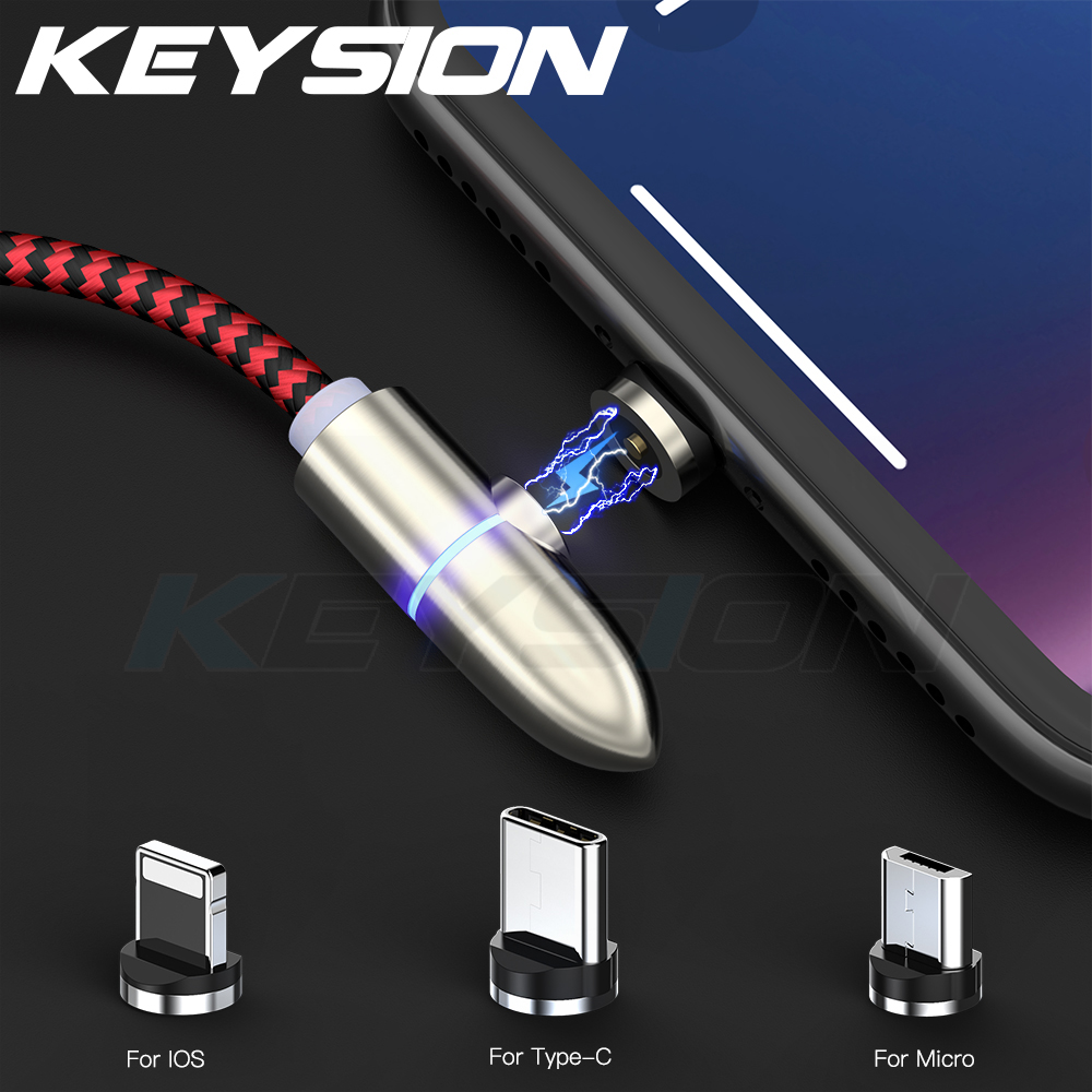 KEYSION Magnetic USB Type-C Cable for Samsung A50 S10 Xiaomi mi 9 Oneplus 7 Pro Micro