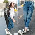 Niños ripped jeans otoño 2016 Nuevo bolsillo trasero estéreo gato chica jeans de moda para adolescentes chica denim jeans