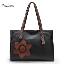 Nuleez Embroidered Genuine Leather Bag Real Leather Big Tote Bag Flower Shoulder Handbags Leisure Casual Bag Female Mummy 1202