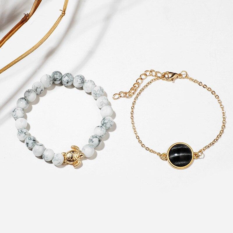 5 Pcs/set Bohemian Pineapple Turtle Heart Earth Bracelet Sets for Women Weave Rope Chain Bracelets Pulseras Mujer Stone Jewelry