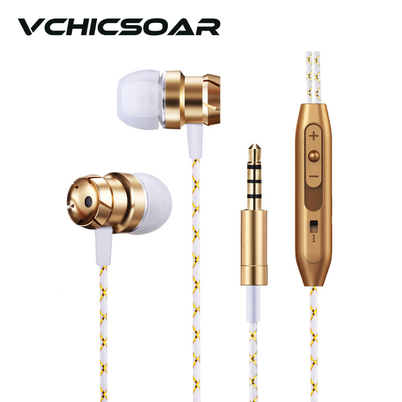 VCHICSOAR Quality Metal Gold In-Ear Earphone and Headphones with Mic Super Bass Headsets for a Mobile Phone Computer MP3 6 Color kz ed9 3 5mm metal earphones in ear bass headphones with mic