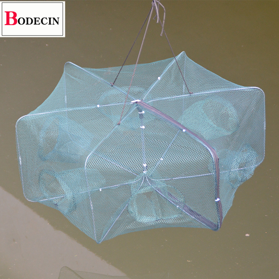 6 Holes Folded Portable Hexagon Fishing Net Network Casting Crayfish Catcher Fish Trap Shrimp Catcher Tank Cages Mesh Nets China