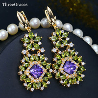 Vintage Russian Costume Jewelry 18K Gold Plated CZ Diamomd Big Dangle Olive Green Earrings With Amethyst
