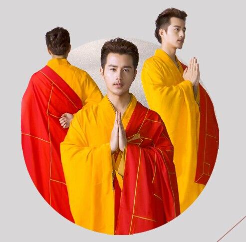 Shanghai Story linen buddhist Monk Robes Shaolin Men Robe high quality Buddhist Monk Cassock Clothes Abbot Bonze Tang Costumes