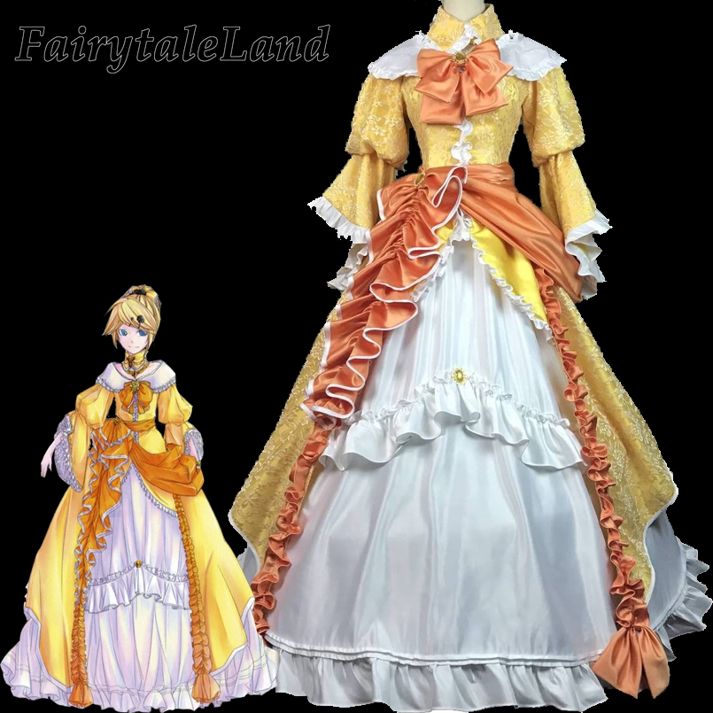 <font><b>Vocaloid</b></font> Kagamine <font><b>Rin</b></font> <font><b>Cosplay</b></font> Costume Halloween Outfit Daughter of Evil Dress Elegant <font><b>Rin</b></font> Dress Adult Women Party Gown image