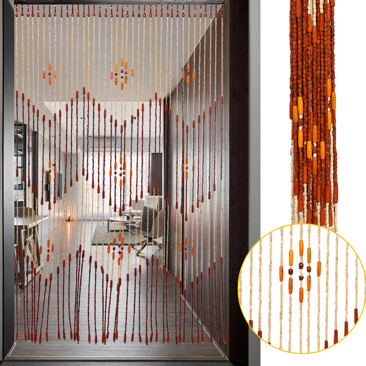 Wooden Door Blinds Fashion Wooden Door Curtain Blinds Handmade Fly Screen Wooden Beads Room Divider 90x175cm 38 Wave 90x195cm 36 Line