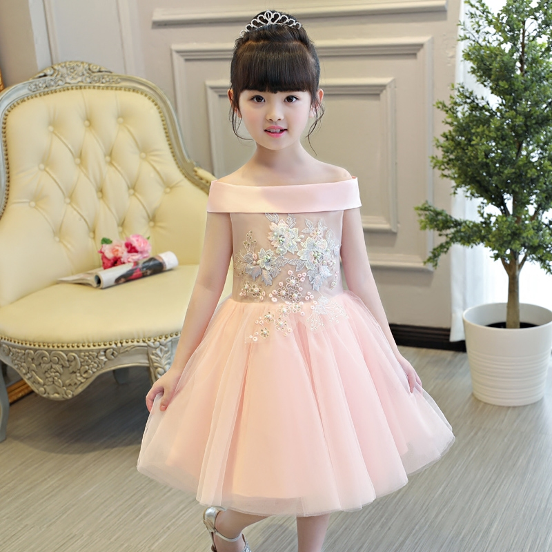 2017 New Korean Sweet Girls Children Shoulderless Princess Dress Cute Pink Color Wedding Birthday Pageant Kids Mesh Dresses sweet years sy 6282l 07