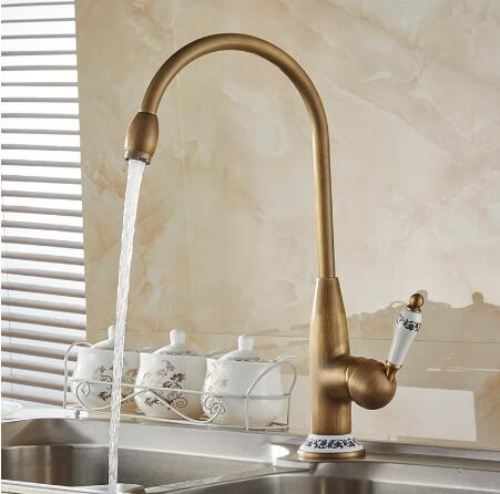 Free shipping new style antique brass kitchen faucet 40cm height kitchen sink basin faucets mixer tap with ceramic hot and cold brand new free shipping antique brass tap antique kitchen faucet