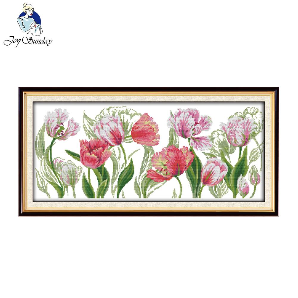 Joy Sunday The Spring Tulips Cross Stitch Kits Sets Handmade Needlework Chinese Embroidery Flowers Patterns Cross-Stitching