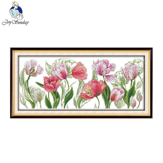 Joy Sunday la primavera tulipanes Cruz Kits establece hechos a mano ...