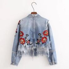 2018 new women Denim Holes Jacket Women Hot Sale Direct Selling Sleeved Coats  Fashion Embroidered