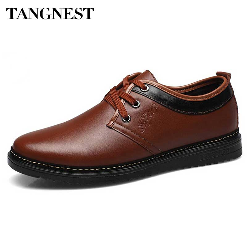 Tangnest Men Business Shoes 2017 New Arrivals Men Flats Man Elegant PU Leather Casual Shoes Man Dress Flats Size 38~44 XMP658 tangnest new embroider women flats casual flower printed ballet flats solid pu leather leisure shoes woman size 35 40 xwc1233
