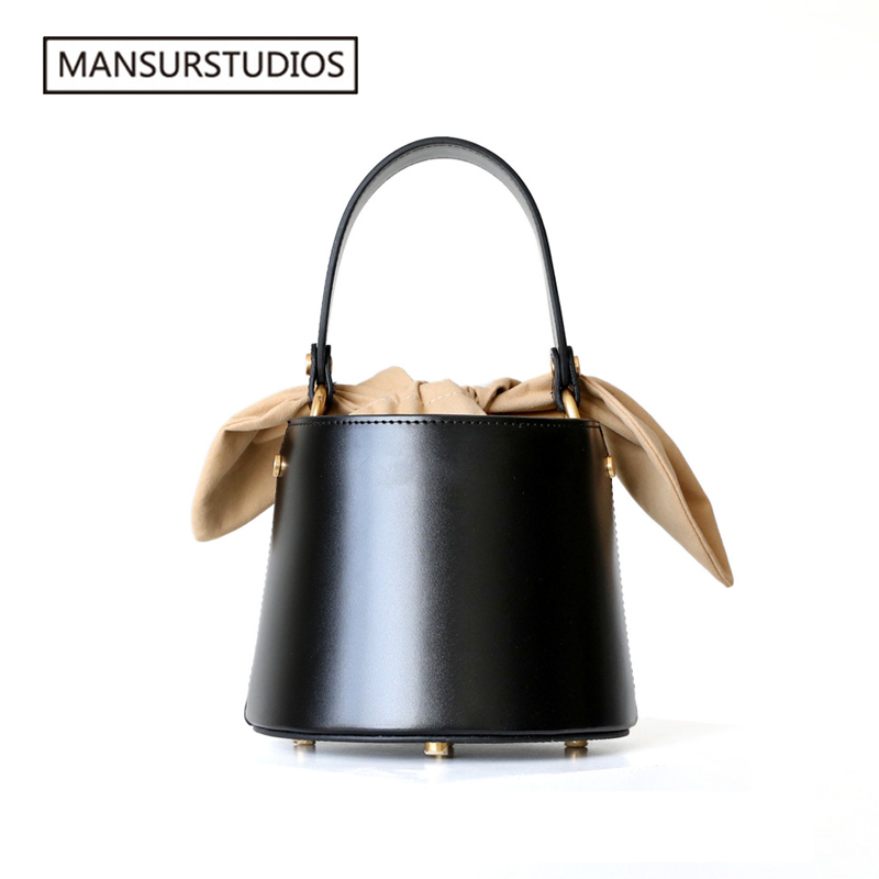 2019 MANSURSTUDIOS genuine leather bucket bag women real leather shoulder bag lady leather cross bag freeshiping